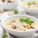 Rezept Pastinakensuppe mit Birne, Forelle und Haselnuss // Recipe parsnip soup