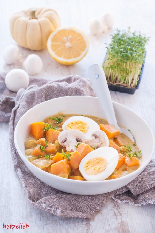 Kürbis Curry Gulasch Rezept Pilze herzelieb-7
