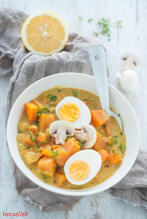 Kürbis Curry Gulasch Rezept Pilze herzelieb-9