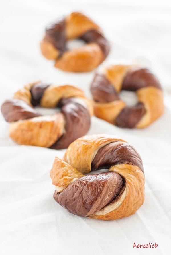 Gedrehte Bagels gefüllt mit Nuss-Nougat-Creme