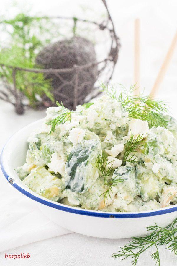 Lowcarb Salat - Gurke, Avocado, Feta und Dill