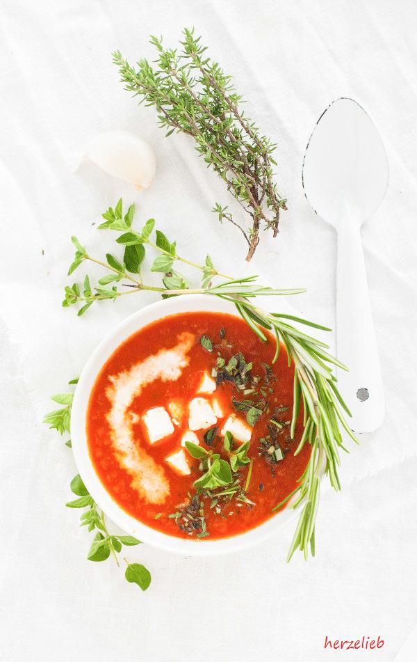 Röstpaprika Suppe - ein Rezept für Antipasti zum Löffeln.