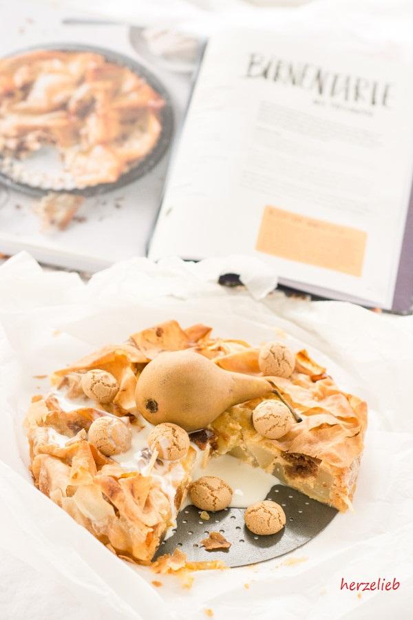 Birne, Amarettini, Ingwer - Rezept für eine Birnentarte