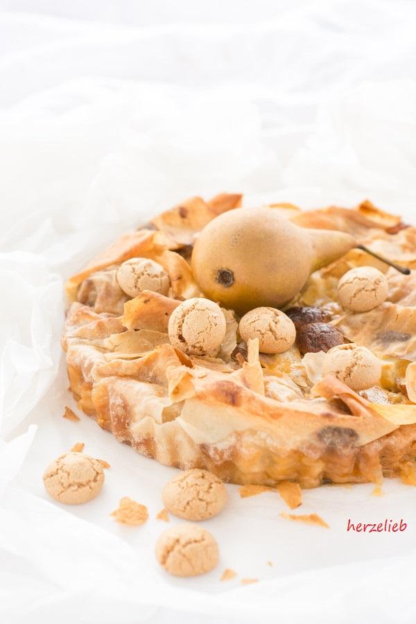 Birnenkuchen - Birnentarte mit Ricotta und Amarettini
