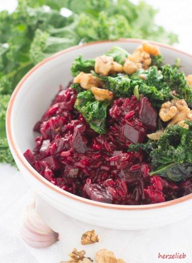 beet kale risotto recipe // Rote Bete Risotto mit Grünkohl //Werbung