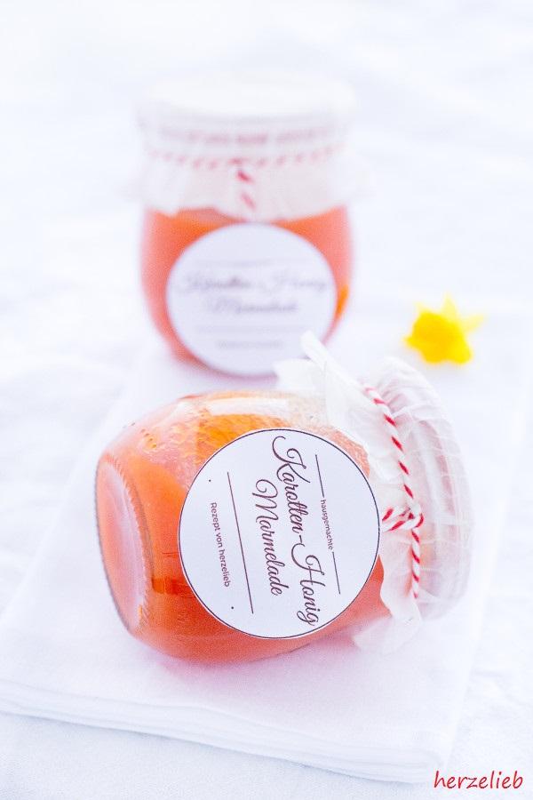 Karotten-Honig-Marmelade zwei Gläser