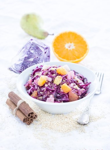 Rezept mit Quinoa, Birne, Orange und Rotkohl - Salat von herzelieb