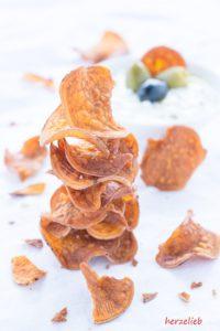 Rezept für selbstgemachte Süßkartoffel Chips von herzelieb