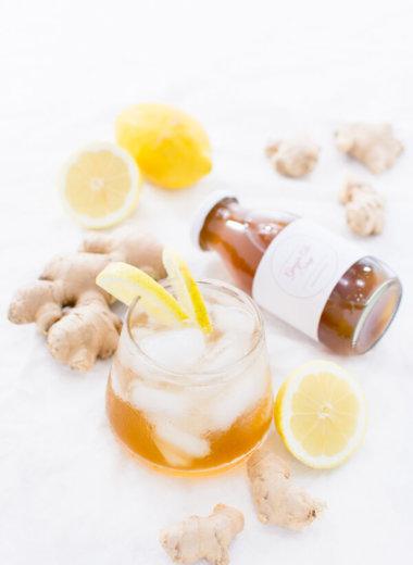 Ginger Ale Sirup in kleinen Flaschen. Mit Zitrone und Ingwer