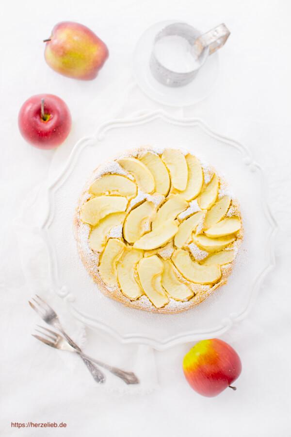 Glutenfreier Apfelkuchen - Apfeltarte Rezept mit Bohnen