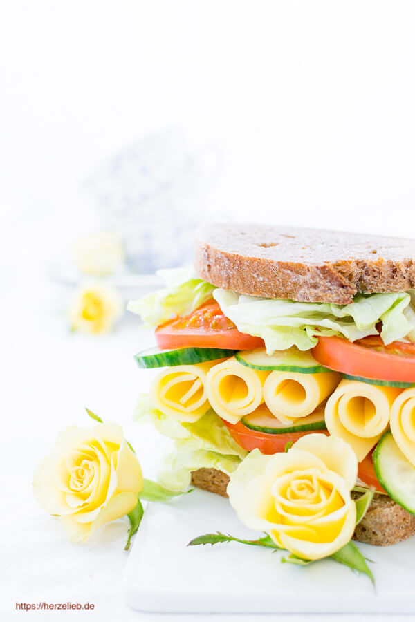 Käse Stulle zum Valentinstag - Rezept für ein Dinkelvollkornbrot!