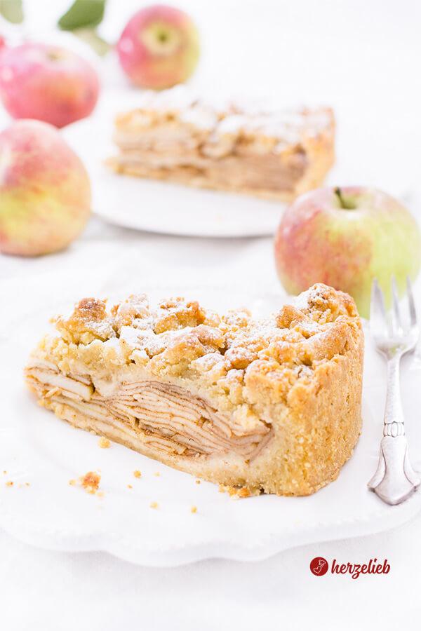 Apfelkuchen mit Marzipanstreuseln – Rezept für das Kuchenglück
