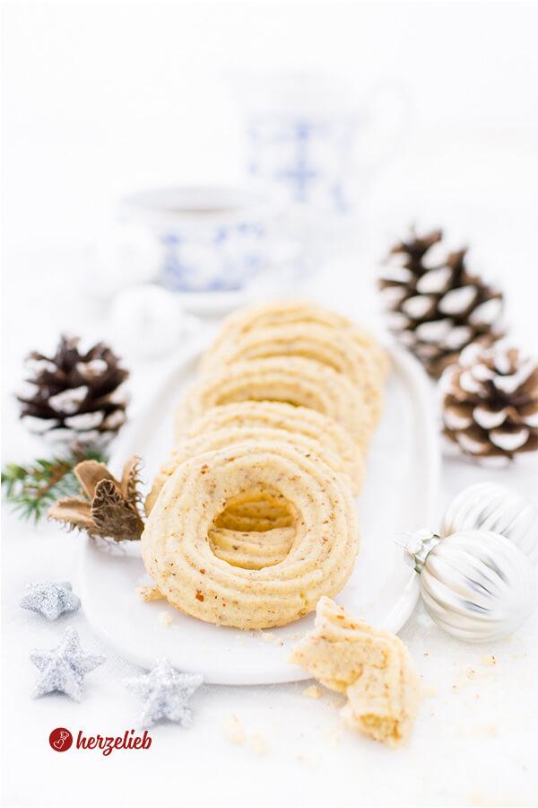 Vaniljekranse oder Vanillekränze – Rezept für dänische Kekse
