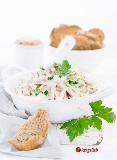 Fleischsalat klassisch einfach mit joghurt von herzelieb