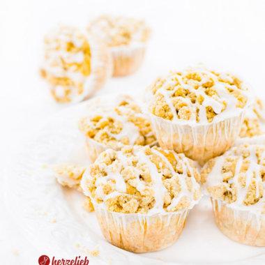 Apfelmuffins - kleine Apfelkuchen mit Butterstreuseln