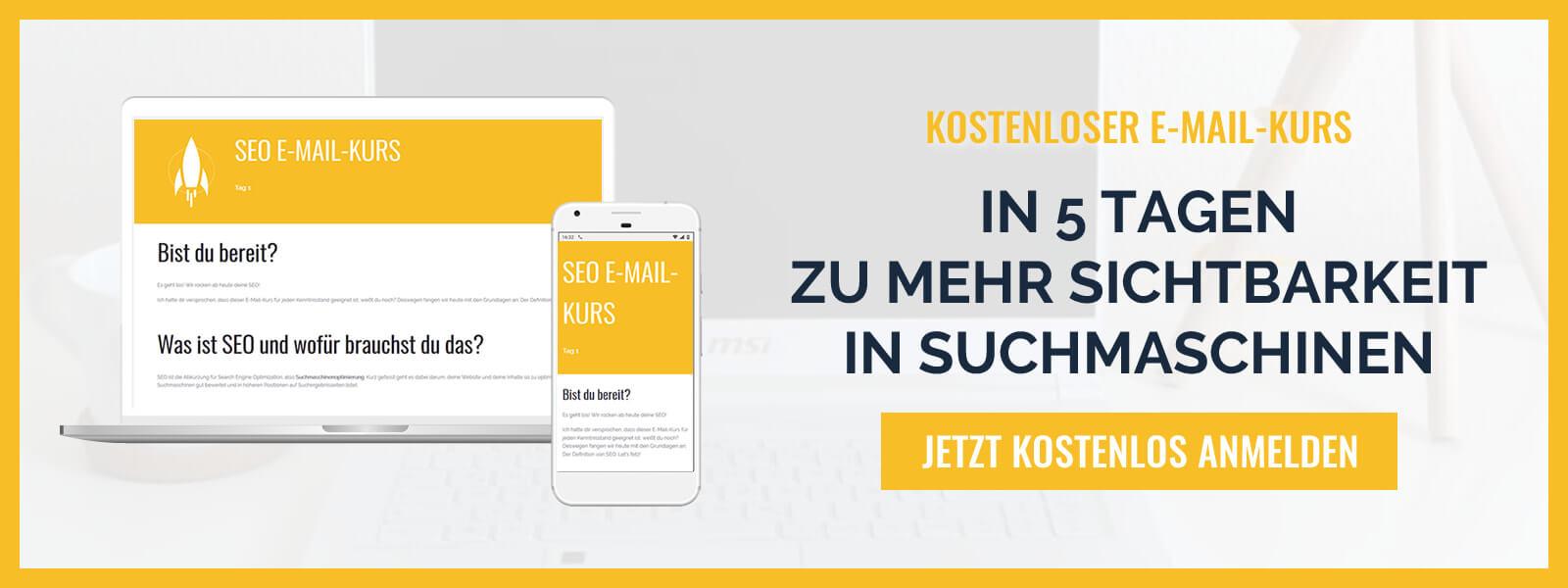 Steige frustfrei in SEO ein! Melde dich zum kostenlosen SEO E-Mail-Kurs an. | Blogger-Coaching.de - Tipps & Kurse für Blogger