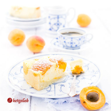 Aprikosen Quarkkuchen selbstgebacken mit Kaffee