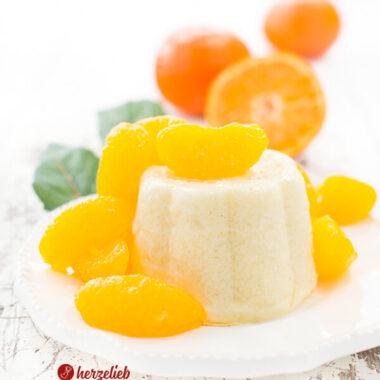 Grießpudding selbstgekocht mit Vanille, Zitrone und Mandarinen
