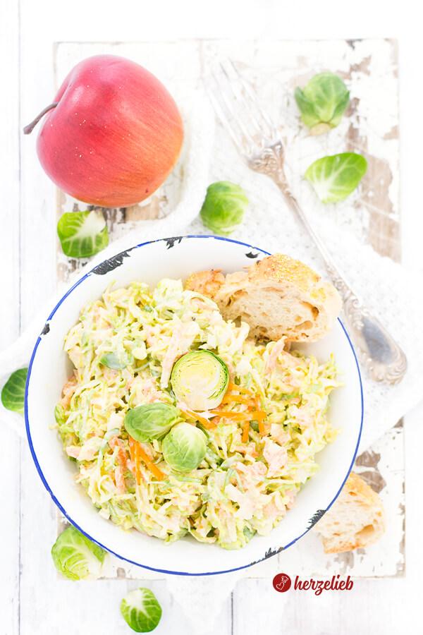 Rosenkohl Coleslaw cremigen Krautsalat selber machen