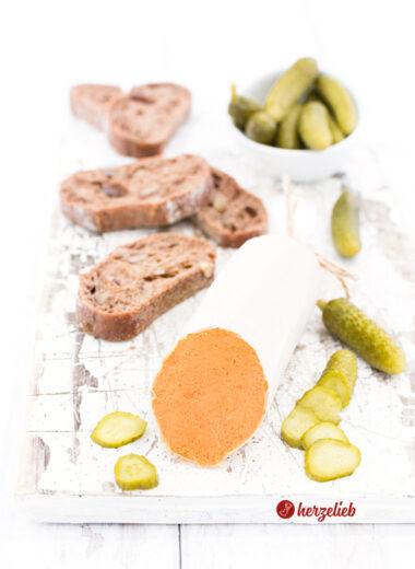 Teewurst-Aufstrich ohne Fleisch, eine vegetarische Teewurst