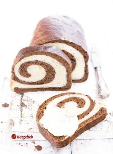 Kakao Swirl Brot Weizenbrot von herzelieb