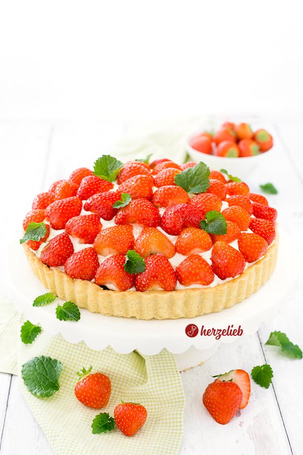 Jordbærtærte aus Dänemark, Erdbeerkuchen Rezept von herzelieb