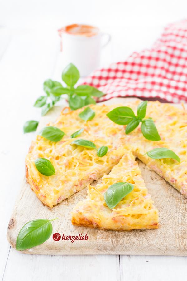 Rezept Spaghetti Pizza von herzelieb - Spaghetti Frittata