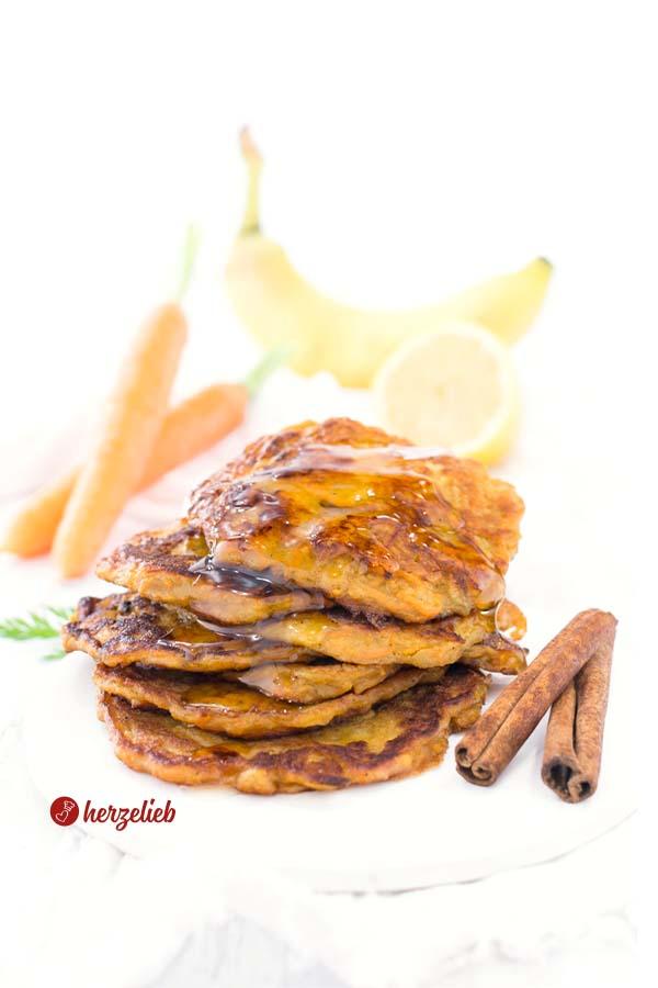 Einfache Karottenkuchen Pfannkuchen vom Foodblog herzelieb