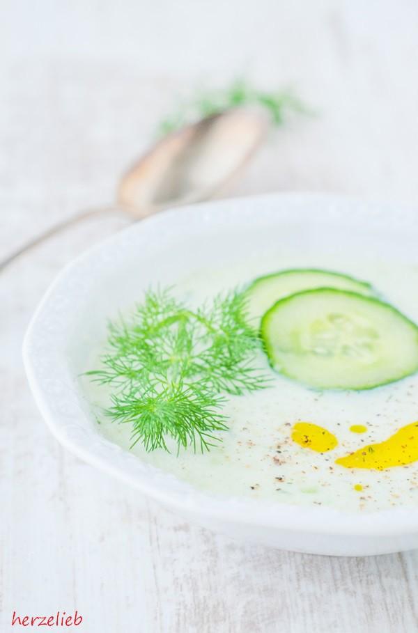 Gurkensuppe mit Dill und Olivenöl...einfach ein Genuss!