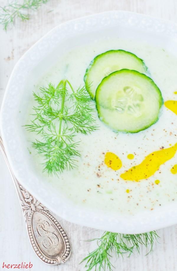 Rezept für Gurkensuppe mit Joghurt und Dill!